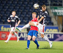 Cowdenbeath's Ron Robertson and Falkirk's Rory Loy.<br /> Falkirk beat Cowdenbeath in a penalty shoot-out, second round League Cup tie played at The Falkirk Stadium.