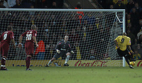Photo: Alan Crowhurst.<br />Watford v Brighton & Hove Albion. Coca Cola Championship. 03/12/2005. <br />Brighton keeper Alan Blayney saves a penalty from Marlon King (R).