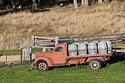The Megalong Creek Estate, Blue Mountains Winery, Megalong Valley, NSW, Australia.  An old disused truck with oak barrels on it.