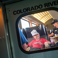 060613       Cable Hoover<br /> <br /> Dillon Landavazo waits to be served snacks as he and others from the Boys and Girls Club participate in the Burlington Northern Santa Fe Railroad Memorable Ride from Gallup to Arizona Thursday.