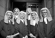 "New members of the ""Bar"".     (N44)..1980..06.10.1980..10.06.1980..6th October 1980..Today at The Four Courts saw the calling to the bar of, (L-R).Mr Paul Carney,Rathmines, Dublin, Mr Peter Sutherland,Blackrock, Dublin, Mr Frank Spain, Lansdowne Road, Dublin, Mr John D Cooke,Churchtown,Dublin, Mr David Montgomery,Blackrock, Dublin, and Mr Eoghan Fitzsimons Howth, Dublin."