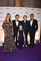 Lady Jubie Wigan, Jeremy Irvine, The Prime Minister Theresa May, James Norton and Aliena Wigan at The Sugarplum Dinner 2017 to benefit the type 1 diabetes charity JDRF held at the Victoria & Albert Museum, Cromwell Road, London England. 14 November 2017.<br /> Photo by Dominic O'Neill/SilverHub 0203 174 1069 sales@silverhubmedia.com