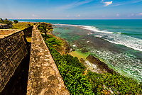 Galle Fort, in the Bay of Galle on the southwest coast of Sri Lanka, was built first in 1588 by the Portuguese, then extensively fortified by the Dutch during the 17th century from 1649 onwards.