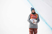 Brita Sigourney, USA, during the womens skiing halfpipe flower ceremony at the Pyeongchang 2018 Winter Olympics on February 20th 2018, at the Phoenix Snow Park in Pyeongchang-gun, South Korea
