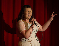 """Amanda Brunt sings """"Before He Cheats"""" during Laconia's Got Talent Thursday evening to benefit the Got Lunch program. (Karen Bobotas/for the Laconia Daily Sun)"""