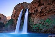 On the Havasupai Indian Reservation, Havasu Falls, Creek, and Canyon flow into Grand Canyon, Arizona, USA.