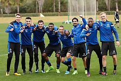 January 8, 2018 - San Roque, SPAIN - Club's Hans Vanaken, Club's Erhan Masovic, Club's Jordi Vanlerberghe, Club's Wesley Moraes, Club's Timmy Simons, Club's Lior Refaelov, Club's Stefano Denswil and Club's Saulo Decarli pictured during day five of the winter training camp of Belgian first division soccer team Club Brugge, in San Roque, Spain, Monday 08 January 2018. BELGA PHOTO BRUNO FAHY (Credit Image: © Bruno Fahy/Belga via ZUMA Press)