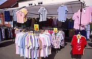 AMFY36 Clothing on sale Halesworth market Suffolk England