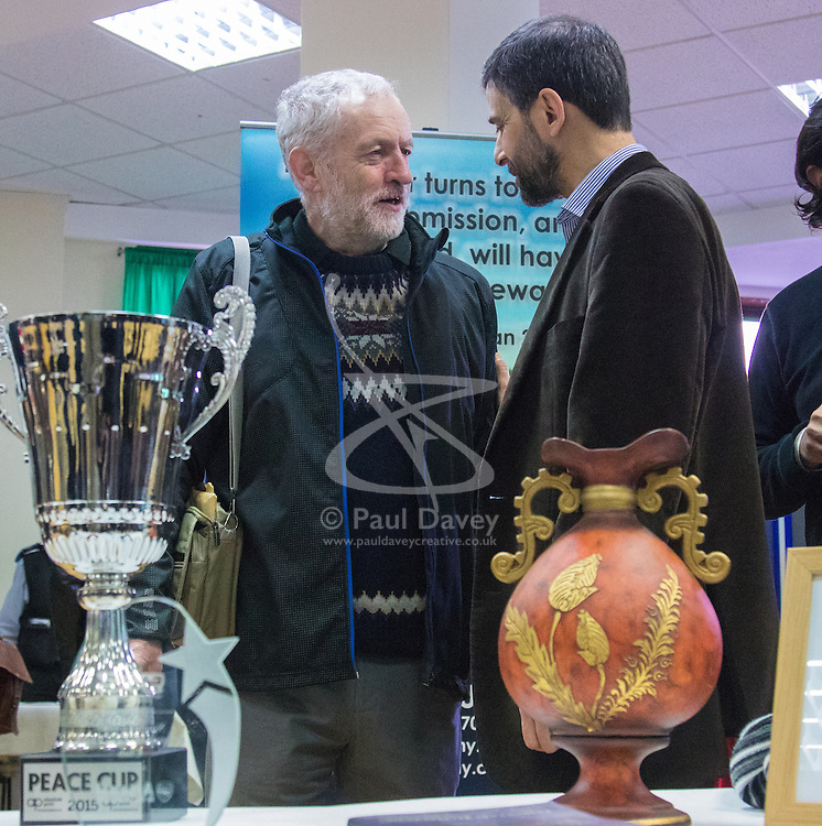 """Finsbury Park Mosque, London, February 7th 2016. Labour Leader and local MP Jeremy Corbyn meets members of the local community and mosque leaders as part of a Visit My Mosque initiative by the Muslim Council of Britain to show non-Muslims """"how Muslims connect to God, connect to communities and to neighbours around them"""".<br /> . ///FOR LICENCING CONTACT: paul@pauldaveycreative.co.uk TEL:+44 (0) 7966 016 296 or +44 (0) 20 8969 6875. ©2015 Paul R Davey. All rights reserved."""