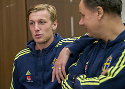 August 28, 2017 - Sofia, BULGARIEN - 170828 Swedish player Emil Forsberg meets media at a Mixed Zone arranged by The Swedish Football Association 28 August 2017 in Sofia, Bulgaria. Sweden is preparing for the upcoming World Cup qualifying game between Bulgaria and Sweden on 31 August  (Credit Image: © Nikolay Doychinov/Bildbyran via ZUMA Wire)