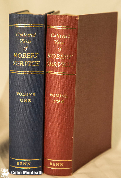 COLLECTED VERSE OF ROBERT SERVICE,  2 volumes, Ernest Benn, London, 1960, 700 & 480 page VG+ hardbacks,in original maroon and blue cloth, gilt titles, about as nice a set as you'll ever find...all the classic Service poems of the Yukon and wild north are there - $75.