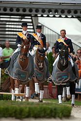 Podium Kür<br /> 1 Adelinde Cornelissen (NED)<br /> 2. Carl Hester (GBR) <br /> 3. Patrick Kittel (SWE)<br /> European Championships Dressage - Rotterdam 2011<br /> © Dirk Caremans