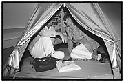 LINDY DUFFERIN IN TRACEY EMIN'S TENT, Sensation Opening. Royal Academy of Art. London.16 September 1997.