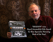 Pete Lyons, author of SHADOW, learning of his award from the RAC for Best Specialist Motoring Book of the Year 2020; photo by Lorna Lyons