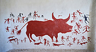 Recontructed fresco of an original found at Catalhoyuk. The men are hunting a boar. The hunters are believed by scholors to be wearing leopard skin costumes, Painted by Mutlu Gundiler. Reconstructed houses, Catalyhoyuk Archaeological Site, Çumra, Konya, Turkey .<br /> <br /> If you prefer to buy from our ALAMY PHOTO LIBRARY  Collection visit : https://www.alamy.com/portfolio/paul-williams-funkystock/catalhoyuk-site-turkey.html<br /> <br /> Visit our TURKEY PHOTO COLLECTIONS for more photos to download or buy as wall art prints https://funkystock.photoshelter.com/gallery-collection/3f-Pictures-of-Turkey-Turkey-Photos-Images-Fotos/C0000U.hJWkZxAbg