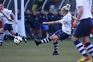 Gemma Watson strikes during the FA Women's Lancashire Cup Final match between Preston North End Ladies and Blackburn Rovers Women at the County Ground, Leyland, United Kingdom on 28 April 2016. Photo by Pete Burns.
