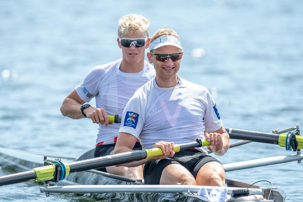 Hamish Bond and James Lassche winners of the men's pair <br /> <br /> NZ National Club Rowing Championships, Lake Karapiro, Cambridge, New Zealand. Friday 21st February 2020.  Copyright photo © Steve McArthur / www.photosport.nz