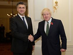 ZAGREB, Nov. 9, 2016 (Xinhua) -- Visiting British Foreign Secretary Boris Johnson (R) shakes hands with Croatian Prime Minister Andrej Plenkovic before their meeting in Zagreb, capital of Croatia, Nov. 9, 2016.  (Xinhua/Miso Lisanin) (zw) (Credit Image: © Miso Lisanin/Xinhua via ZUMA Wire)