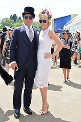 TAMARA BECKWITH and GIORGIO VERONI at the first day of the 2014 Royal Ascot Racing Festival, Ascot Racecourse, Ascot, Berkshire on 17th June 2014.