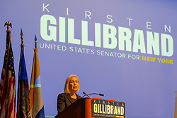 October 5, 2018 - Hempstead, New York, United States - Hempstead New York, October 5, 2018. U.S. Senator Kirsten Gillibrand (D-NY) speaks at podium during Town Hall Meeting at Hofstra University on Long Island.  Supreme Court nominee Judge Kavanagh; opioid addiction crisis; abolishing ICE; immigration; and more were discussed. Sen. Gillibrand is up for re-election in midterm elections. (Credit Image: © Ann Parry/ZUMA Wire)