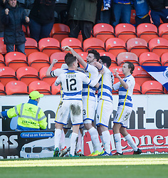 Morton's Lee Kilday cele scoring their goal with teammates. half time : Dundee United 0 v 1 Morton, Scottish Championship game played 25/2/2017 at Tannadice Park.