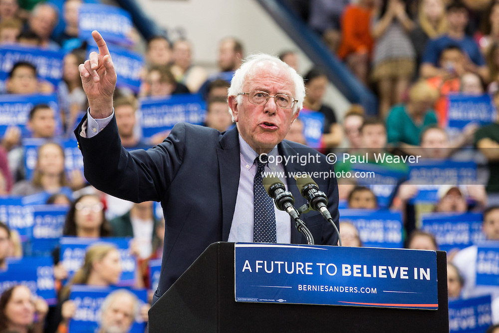 Bernie Sanders speaks at a campaign rally at Penn State.