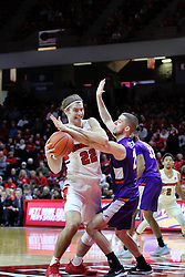 NORMAL, IL - January 05: Matt Chastain defended by Shea Feehan during a college basketball game between the ISU Redbirds and the University of Evansville Purple Aces on January 05 2019 at Redbird Arena in Normal, IL. (Photo by Alan Look)