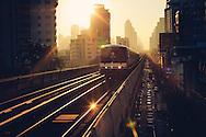 BTS Sky Train at sunrise Bangkok Thailand