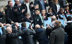 Manchester City's Sergio Aguero arrives for the UEFA Champions League, Quarter Final at the Etihad Stadium, Manchester.