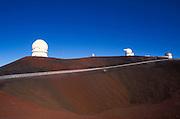 Road leading up to observatories on the summit of Maura Kea at 13,800 feet, The Big Island, Hawaii