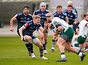 Sale Sharks centre Conor Doherty lines up to tackle London Irish Ollie Hoskins during a Gallagher Premiership Round 14 Rugby Union match, Sunday, Mar 21, 2021, in Eccles, United Kingdom. (Steve Flynn/Image of Sport)