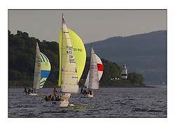 Racing at the Bell Lawrie Yachting Series in Tarbert Loch Fyne ..The start of the Bell Lawrie Yachting Series from Gourock overnight to Tarbert Loch Fyne...Bite the Bullet the Elan31 GBR1531R heads for Cloch Lighthouse.