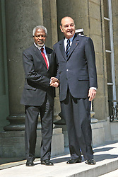 File Photo - French president Jacques Chirac receives Secretary-General of the United Nations, Kofi Annan at the Elysee palace in Paris on June 14, 2005. Kofi Annan, the former UN secretary-general who won the Nobel Peace Prize for humanitarian work, has died aged 80, his aides say. Photo by Mousse/ABACA.