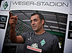 27.08.2013, Weserstadion, Bremen, GER, 1.FBL, Training SV Werder Bremen, im Bild Robin Dutt (Cheftrainer SV Werder Bremen) beim Interview // during the training session of the German Bundesliga Club SV Werder Bremen at the Weserstadion, Bremen, Germany on 2013/08/27. EXPA Pictures © 2013, PhotoCredit: EXPA/ Andreas Gumz <br /> <br /> ***** ATTENTION - OUT OF GER *****