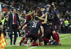 May 9, 2019 - Valencia, Valencia, Spain - Players of Arsenal celebrating a goal during UEFA Europa League football match, between Valencia and Arsenal, May 09th, in Mestalla stadium in Valencia, Spain. (Credit Image: © AFP7 via ZUMA Wire)