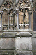 Statues and stonework, Wells cathedral, Somerset, England