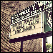 Granville T Woods Math & Science Academy, 6206 S Racine in West Englewood. Opened 1965, closed 2013. Named for an African American engineer and inventor who developed many improvements to the railroad system. Photographed Monday, Aug. 26, 2013 with an iPhone and the Instagram filter Brannan. (Brian Cassella/Chicago Tribune) B583150507Z.1 <br /> ....OUTSIDE TRIBUNE CO.- NO MAGS,  NO SALES, NO INTERNET, NO TV, CHICAGO OUT, NO DIGITAL MANIPULATION...
