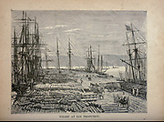 Wharf at San Francisco, California, USA. from The merchant vessel : a sailor boy's voyages to see the world [around the world] by Nordhoff, Charles, 1830-1901 engraved by C. LaPlante; some illustrations by W.L. Wyllie Publisher New York : Dodd, Mead & Co. 1884