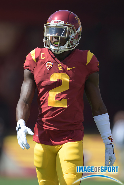 Sep 10, 2016; Los Angeles, CA, USA; USC Trojans defensive back Adoree Jackson (2) during a NCAA football game against the Utah State Aggies at Los Angeles Memorial Coliseum.