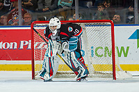 KELOWNA, CANADA - OCTOBER 13: Roman Basran #30 of the Kelowna Rockets defends the net with a hockey stick after breaking his goalie stick against the Tri-City Americans  on October 13, 2018 at Prospera Place in Kelowna, British Columbia, Canada.  (Photo by Marissa Baecker/Shoot the Breeze)  *** Local Caption ***