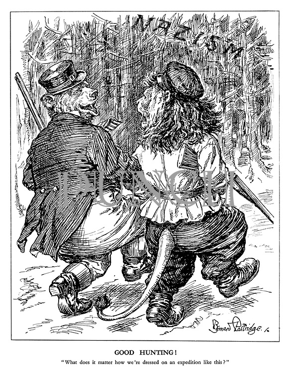 """Good Hunting! """"What does it matter how we're dressed on an expedition like this?"""" (The Russian Bear and the British Lion swap clothes to show unity in a hunting expedition into the forest of Nazism)"""