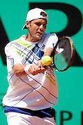 Roland Garros. Paris, France. 24 Mai 2010..Le joueur francais Paul-Henri MATHIEU contre Marcel GRANOLLERS...Roland Garros. Paris, France. May 24th 2010..French player Paul-Henri MATHIEU against Marcel GRANOLLERS...