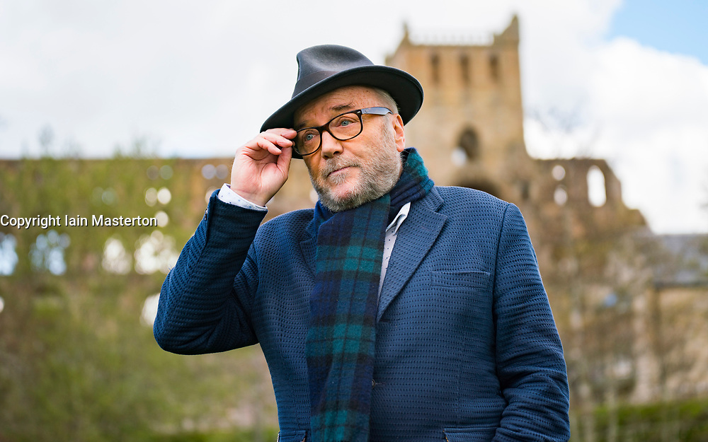 Jedburgh, Scotland, UK. 29 April 2021. Founder of the All for Unity party George Galloway makes a campaign stop to canvass local people  and make a speech against a hard border with England in Jedburgh in the Scottish Borders. Iain Masterton/Alamy Live News