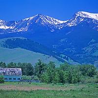 Tobacco Root Mountains, near Pony, Montana. Ranch pastures below Hollow Top Mountain and Potosi Peak.