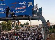 Protestors hang nooses on motorway sign near Baabda Presidential Palace on Saturday, 12 Sep 2020 in Beirut, Lebanon. (VXP Pictures/ Matt Kynaston)