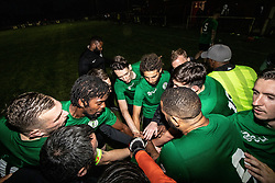 © Licensed to London News Pictures. 30/07/2021. Manchester, UK.  Grenfell Athletic FC players gather following a football match between Greater Manchester Fire and Rescue vs Grenfell Athletic in Manchester. The match forms part of a tour in which Grenfell will also take on Fire Services in Newcastle, Liverpool and London, with donations raised at the matches going towards the future of the club. Photo credit: Ryan Jenkinson/LNP