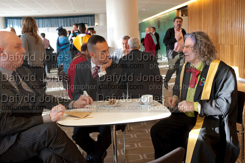 MARK RAVENHILL; MARC FUNDA; BETTE BOURNE; Central School of Speech and Drama presents Honory Fellowships to Carrie Fisher, Bette Bourne, Joseph Selig and Helen Lannaghan. Royal Festival Hall. London. 12 December 2011.