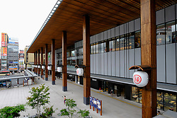 Exterior view of new railway station at Nagano in Japan