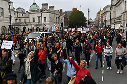 © Licensed to London News Pictures. 29/08/2020. London, UK. Protesters take part in a demonstration organiseded by Stand Up X organisation in London, United Kingdom on August 29, 2020.  The group is against the British government policy of Covid-19 measures including mask wearing, vaccinations and lockdown. Photo credit: London News Pictures