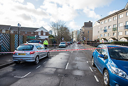 © Licensed to London News Pictures. 15/02/2018. London, UK. The police cordon near Goldwing Close, East London, where a 17-year-old boy was fatally stabbed. Police and London Ambulance Service attended but the victim was pronounced dead at the scene. A murder investigation has been launched. Photo credit: Rob Pinney/LNP